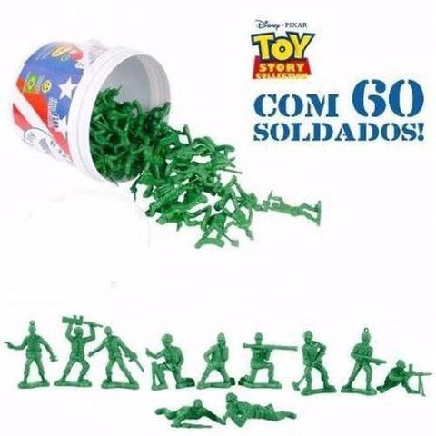 Imagem de Bonecos 60 Soldadinhos Balde Soldados da Toy Story Disney Pixar