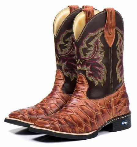 Imagem de Bota Country Escamada Masculina Cano Longo Texana 100% Couro