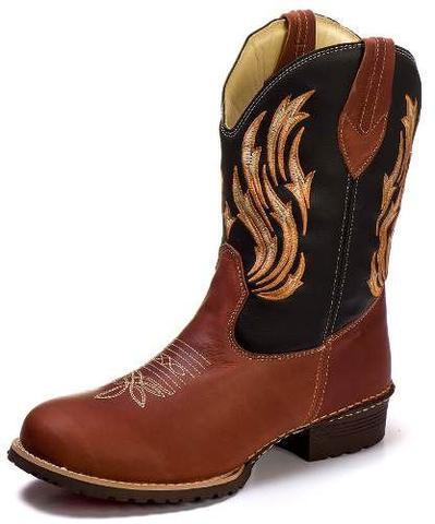 Imagem de Bota Couro Masculina Texana Country Bordada Bico Redondo