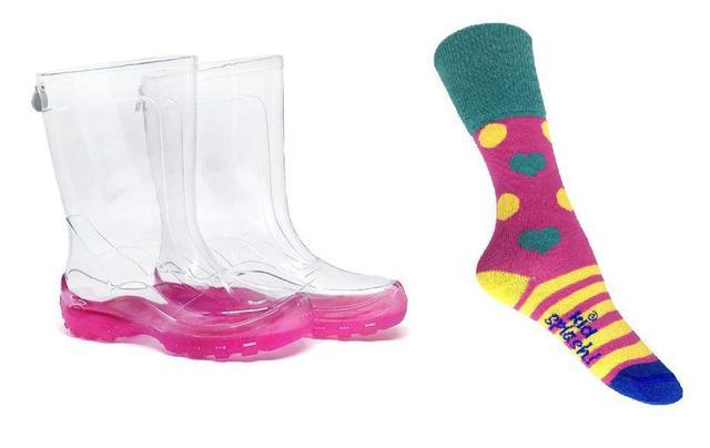 Imagem de Bota Galocha Transparente Com Sola Pink e Meia Colorida Kidsplash Infantil Feminina