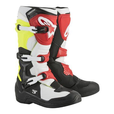 Imagem de Bota tech 3 preto branco amarelo vermelho 08 alpinestars