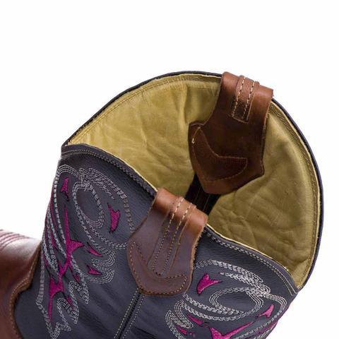 Imagem de Bota Texana Country Feminina  Couro Bico Quadrado - Rose