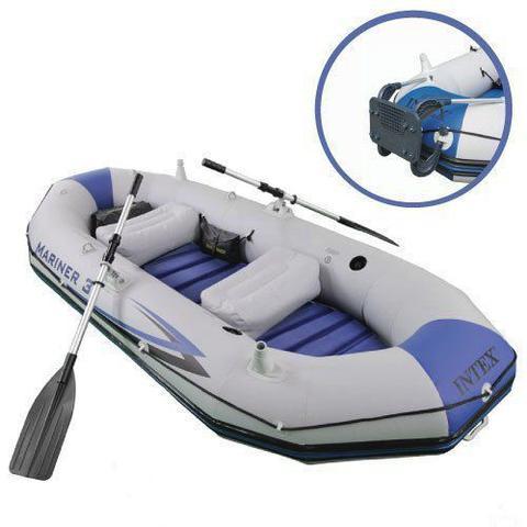 Imagem de Bote Inflável Intex Mariner 3 C/ Par Remos Bomba Barco Pesca e Suporte Motor