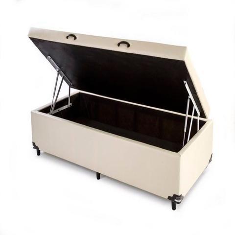 Imagem de Box Bau Solteiro Luxo 88 X 188 Suede Bege