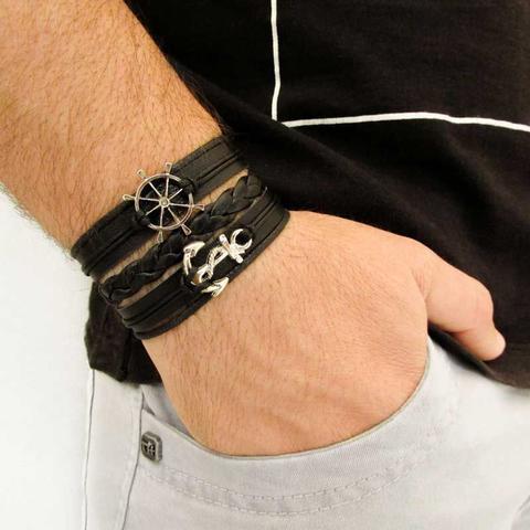 Imagem de Bracelete de Couro Âncora e Timão Preto