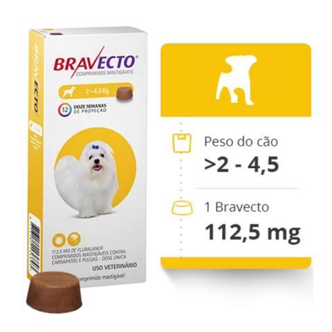 Imagem de Bravecto Antipulgas E Carrapatos Cães De 2 A 4 Kg - 250 mg
