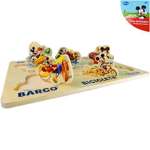 Imagem de Brinquedo Educativo de Madeira Encaixe Mickey Didático Baby
