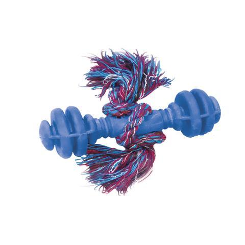 Imagem de Brinquedo Halteres Maciço de Borracha c/ Corda Furacão Pet - Azul