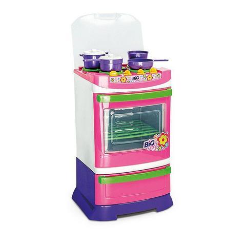 Imagem de Brinquedo Infantil Fogão Big Chef Poliplac - Para Cozinha Menina Com 04 Panelas