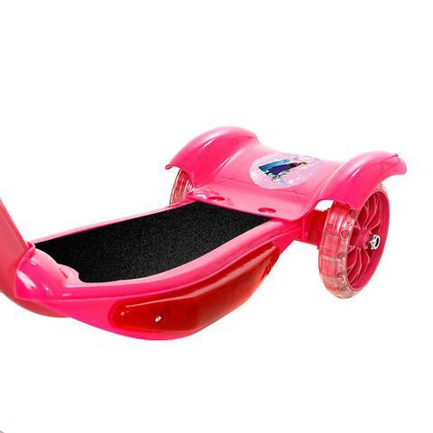 Imagem de Brinquedo Infantil Patinete Scooter 3 Rodas Com Cesta Luz E Som Rosa Frozen Art Brink