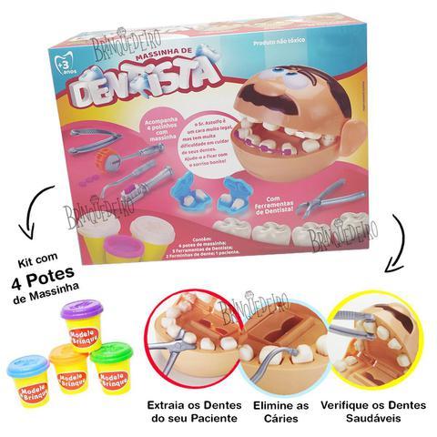 Imagem de Brinquedo Kit Massinha Brincando de Dentista Divertido Com Acessórios