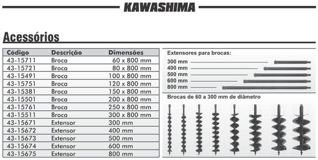 Imagem de Broca Kawashima 12x80cm Espiral Duplo p/ Perfurador Solo / Trado / Perfuratriz