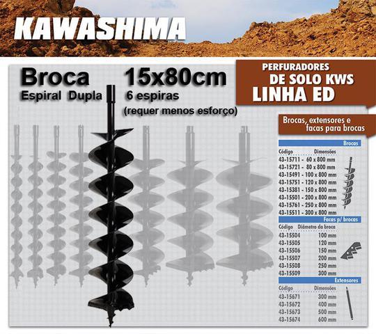 Imagem de Broca Kawashima 15x80cm Espiral Duplo p/ Perfurador Solo / Trado / Perfuratriz