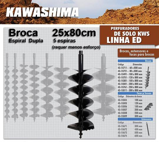 Imagem de Broca Kawashima 25x80cm Espiral Duplo p/ Perfurador Solo / Trado / Perfuratriz