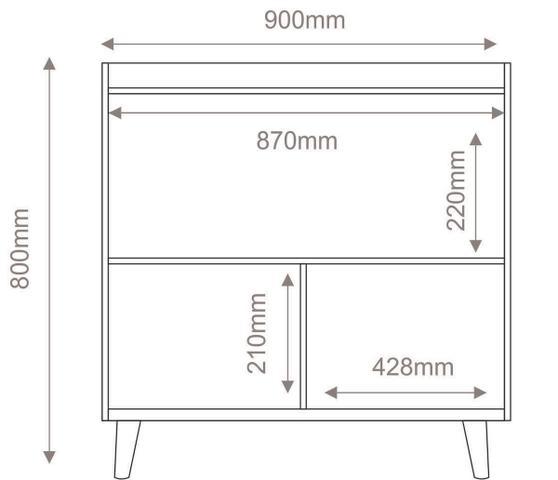 Imagem de Buffet Aparador Retrô com Espelho Clássico 2 Portas Branco Gloss - MoveisAqui