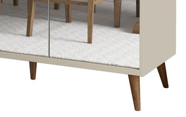 Imagem de Buffet Aparador Retrô com Espelho Delux 3 Portas Off White - MoveisAqui