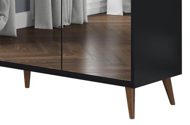 Imagem de Buffet Aparador Retrô com Espelho Delux Preto - MoveisAqui