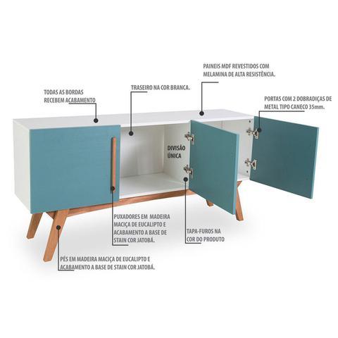 Imagem de Buffet Dolores 3 Portas Branco/Azul Agatha - Woodinn