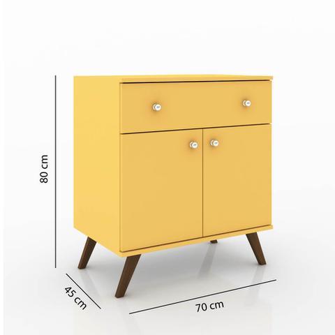 Imagem de Buffet Retrô com 2 Portas e 1 Gaveta - Amarelo
