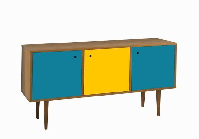 Imagem de Buffet Vintage 3 Portas Amarelo e Azul