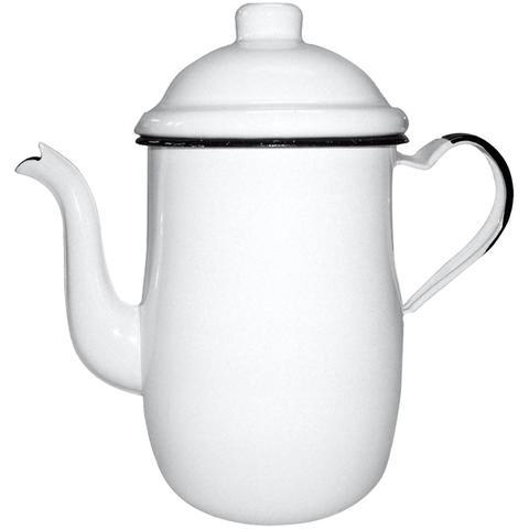 Imagem de Bule Aço Esmaltado Para Café Chá 1,25 Litros Tradicional Branco