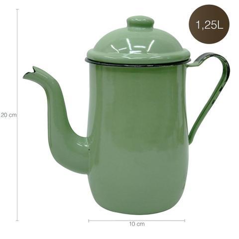 Imagem de Bule Aço Esmaltado Para Café Chá 1,25 Litros Tradicional Verde