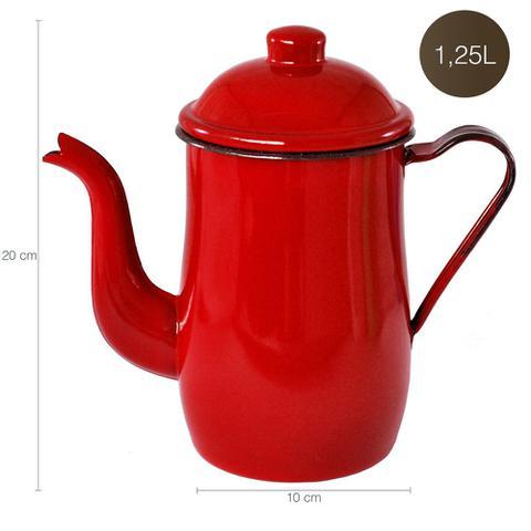 Imagem de Bule Aço Esmaltado Para Café Chá 1,25 Litros Tradicional Vermelho