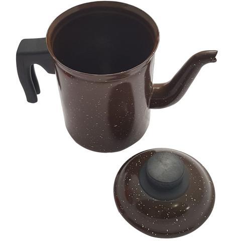 Imagem de Bule De Café Chá Ágata Esmaltado Retro 1,5 Litros Marrom