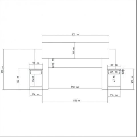 Imagem de Cabeceira Casal com 2 Criados Mudos Dormitórios Decibal Branco