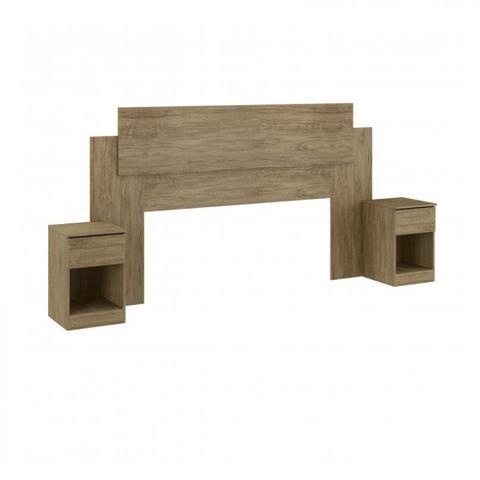 Imagem de Cabeceira Casal com 2 Criados Mudos Dormitórios Decibal Wood
