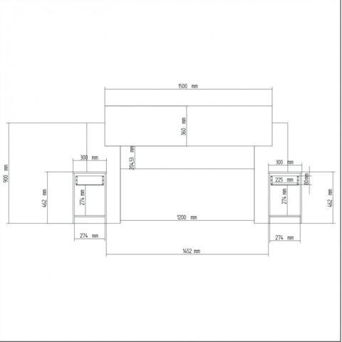 Imagem de Cabeceira Casal com 2 Mesas de Apoio Dormitórios Decibal Branco