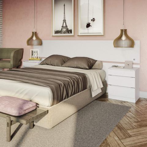 Imagem de Cabeceira Casal Queen ou King e 2 Mesas de Apoio Kappesberg Premium Branco