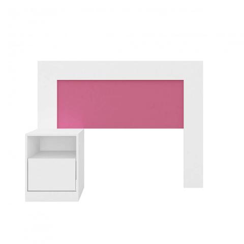 Imagem de Cabeceira com 1 Criado Mudo Acoplado Demóbile Branco/Rosa