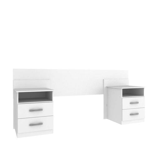 Imagem de Cabeceira de Casal Extensível com Criado Mudo e 2 Gavetas Elegance Siena Móveis Branco