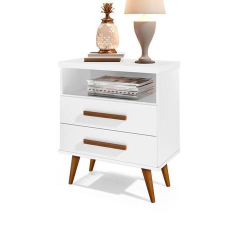 Imagem de Cabeceira Estofada Box Casal 140 cm Braco com Mesa de Cabeceira Alice Branco - E E Móveis