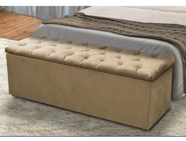 Imagem de Cabeceira Mais Calçadeira Baú Casal Queen 160cm Para Cama Box Sofia Suede Bege - DS Móveis