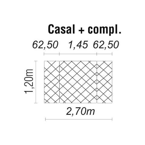Imagem de Cabeceira Painel Box Casal 2,70m MP1807 Plataforma Estofados Bege CestaPlus