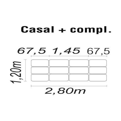 Imagem de Cabeceira Painel Box Casal 2,80m MP1809 Plataforma Estofados Marrom CestaPlus