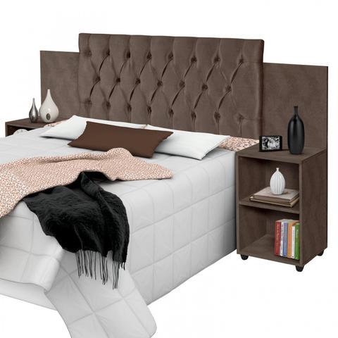 Imagem de Cabeceira para Cama Box Aveludada com Mesa de Apoio Classic Carmolar Chocolate