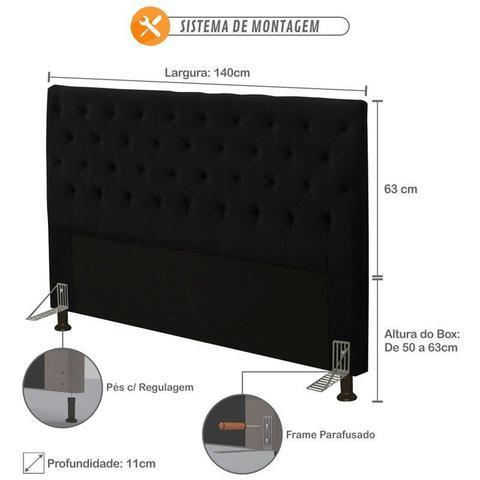 Imagem de Cabeceira para Cama Box Casal 140cm Cristal Suede Preto - JS Móveis