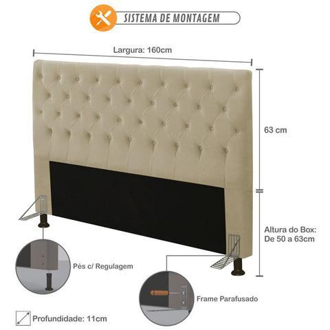 Imagem de Cabeceira para Cama Box Casal 160cm Queen Cristal Suede Bege - JS Móveis