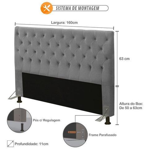 Imagem de Cabeceira para Cama Box Casal 160cm Queen Cristal Suede Cinza - JS Móveis