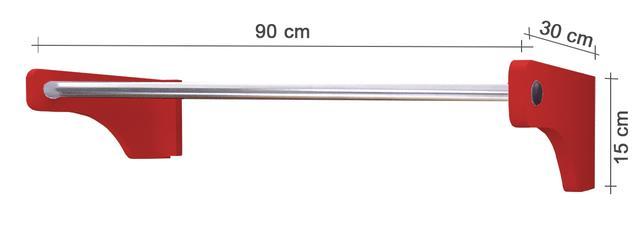 Imagem de Cabideiro De Parede 90 cm Arara Camiseiro Calceiro - Vermelho Laca