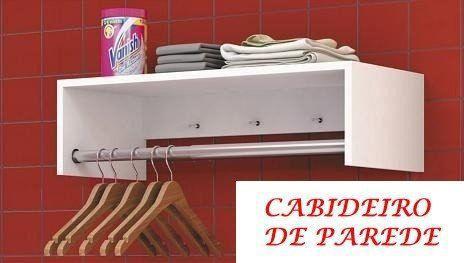 Imagem de Cabideiro De Parede-mdf Branco 15mm-60x20x25-suporte Cromado
