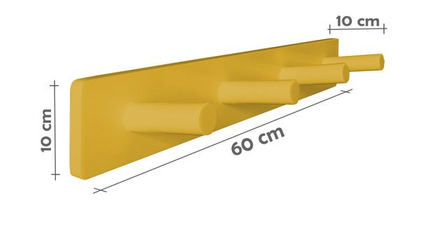 Imagem de Cabideiro de Parede Porta Bolsas Tolhas Mochilas Pinos - Amarelo Laca