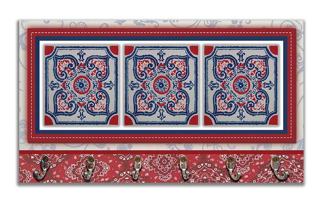 Imagem de Cabideiro de Parede Porta Colar Chaves Cintos Toalhas - Azulejo Vermelho