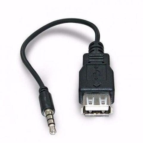 Imagem de Cabo Adaptador P2 X USB Femea Automotivo MP3 MP4 Auxiliar 15 CM