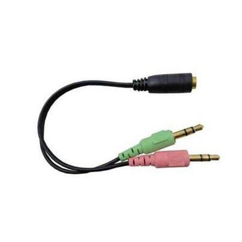 Imagem de Cabo Adaptador Splitter Divisor de Fone e Microfone 2 p2 macho x 1 p3 fêmea