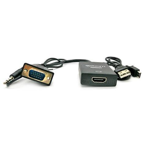 Imagem de Cabo Conversor VGA para HDMI com Áudio e Vídeo 1080p Alimentação via USB Exbom CC-VHA30