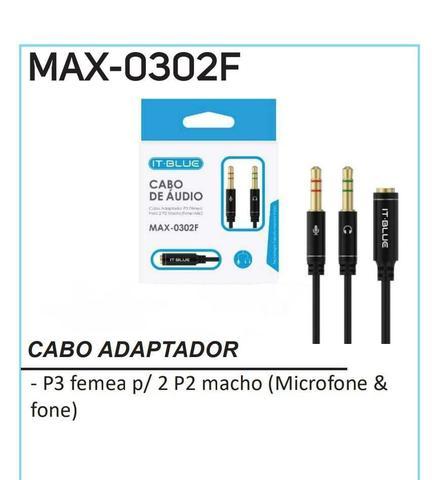 Imagem de cabo de Áudio adaptador p3 Fêmea para 2 p2 Macho max-0302f